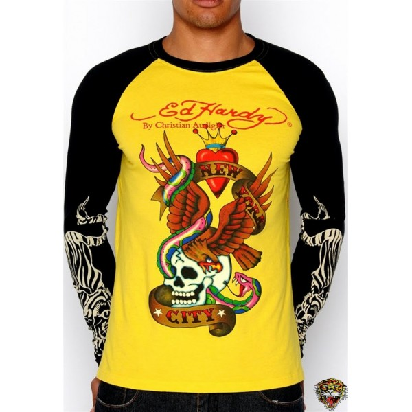 Ed Hardy Long Sleeve New York City Yellow For Men