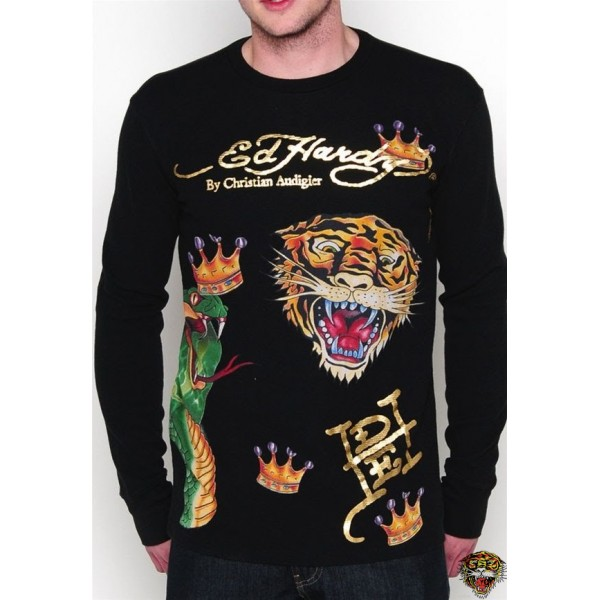 Ed Hardy Long Sleeve Nurse Crown Black For Men