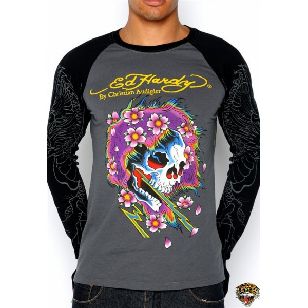 Ed Hardy Long Sleeve Skull Bolt For Men