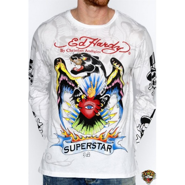 Ed Hardy Long Sleeve Superstar White For Men