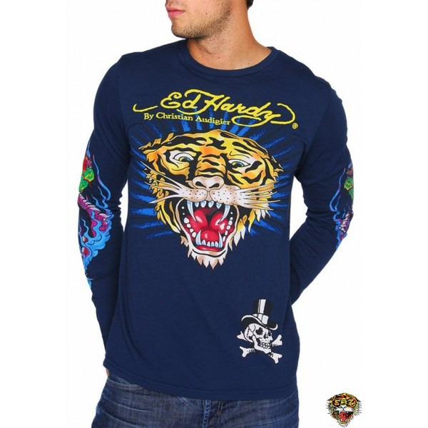 Ed Hardy Long Sleeve Tiger Blue For Men