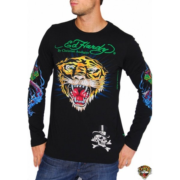 Ed Hardy Long Sleeve Tiger Eagle Black For Men