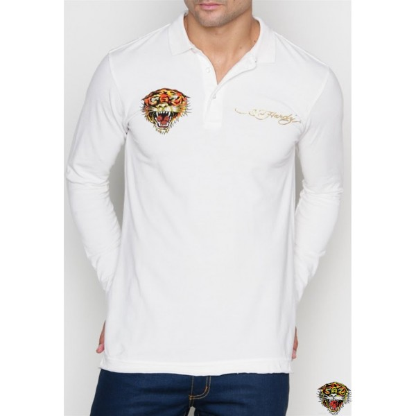 Ed Hardy Long Sleeve Tiger Logo White For Men