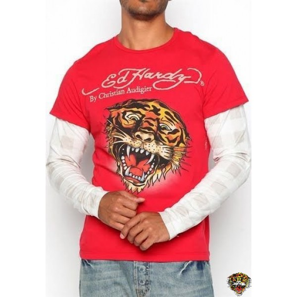 Ed Hardy Long Sleeve Tiger Red White For Men