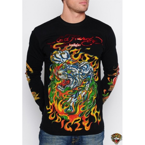 Ed Hardy Long Sleeve Tiger Rose Eagle Black For Men