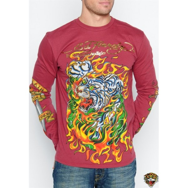 Ed Hardy Long Sleeve Tiger Rose Eagle Red For Men