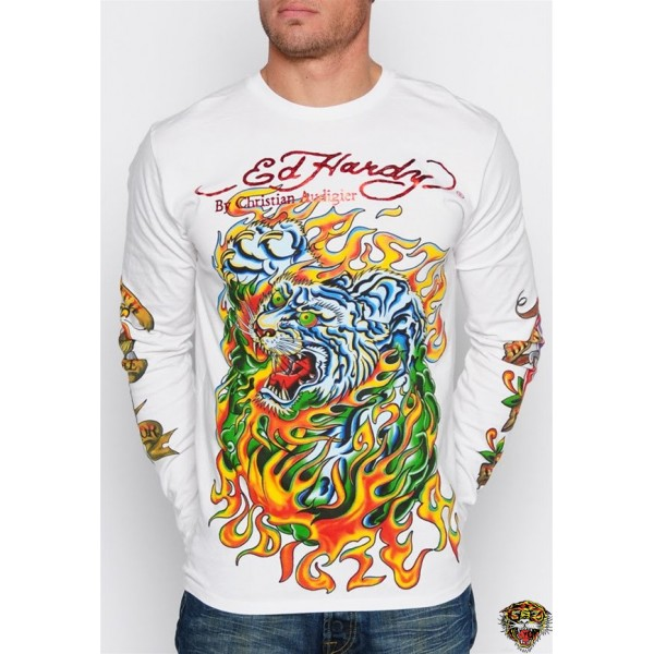 Ed Hardy Long Sleeve Tiger Rose Eagle White For Men