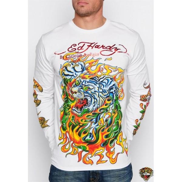 Ed Hardy Long Sleeve Tiger Rose Eagle White For Men