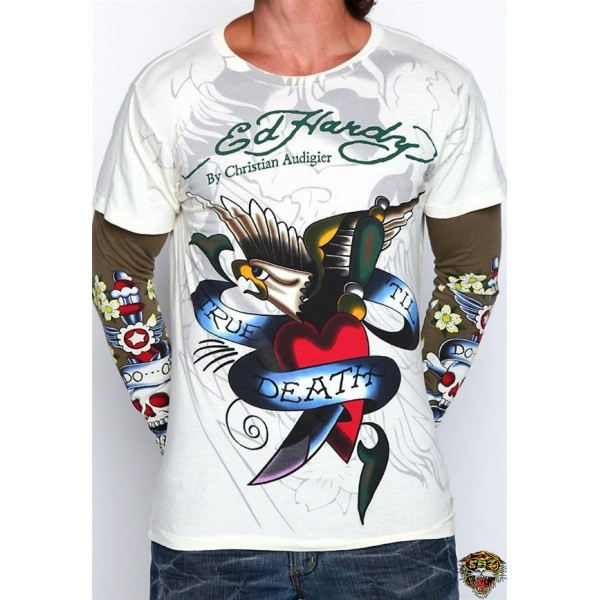 Ed Hardy Long Sleeve True Til Death White For Men