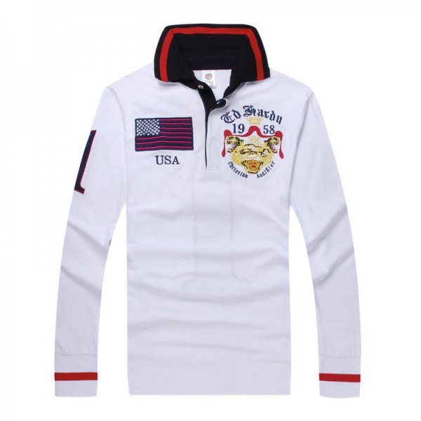 Ed Hardy Long Sleeve USA White For Men