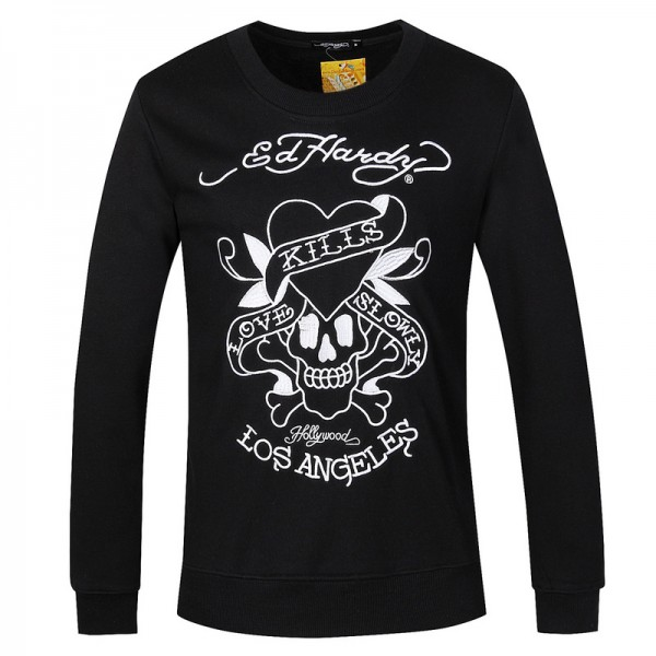 Ed Hardy Long Sleeve White Love Kill Slowly Black For Men