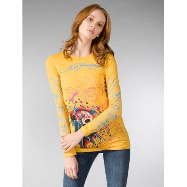 Ed Hardy Long T Shirt For Women Website Yellow