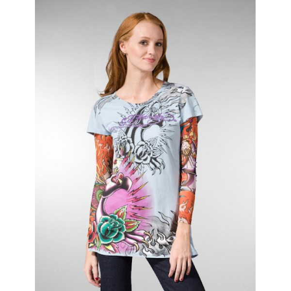 Ed Hardy Long T Shirt Womens Online Store Blue