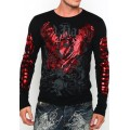 Ed Hardy Plus Size Men Long Sleeve Red Black