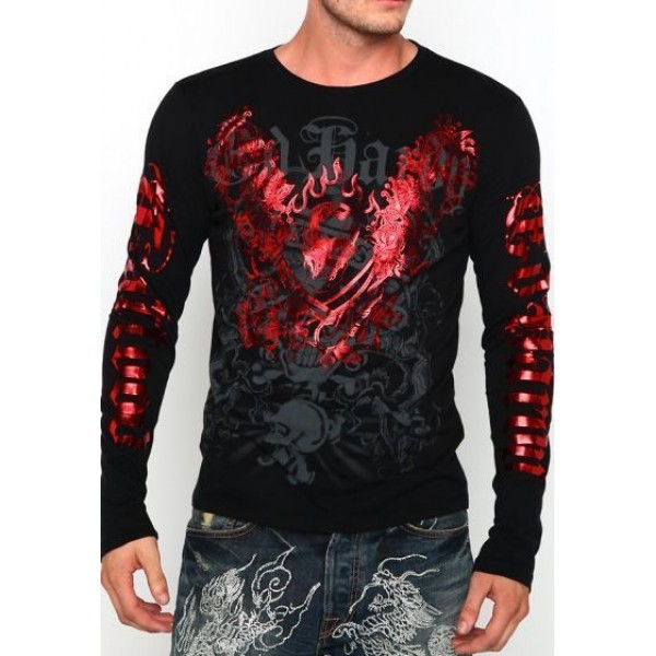 Ed Hardy Plus Size Men Long Sleeve Red Black