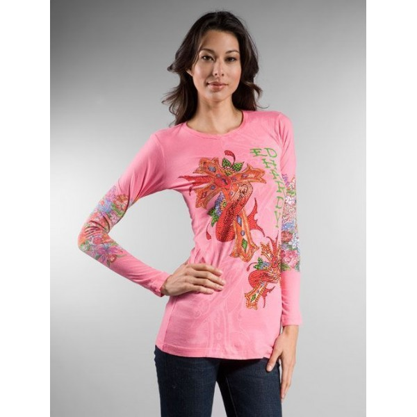 Ed Hardy Tattoo Design Long T Shirt For Women Pink