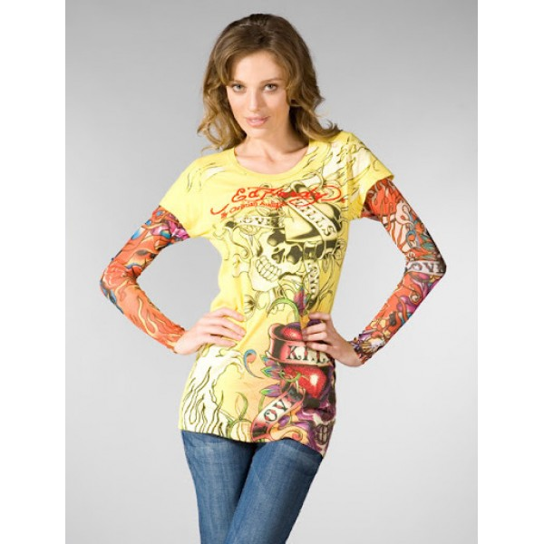 Ed Hardy Tattoos Designs Womens Long Sleeve Yellow