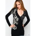 Ed Hardy Womens Long Sleeve Black Tiger UK Sale