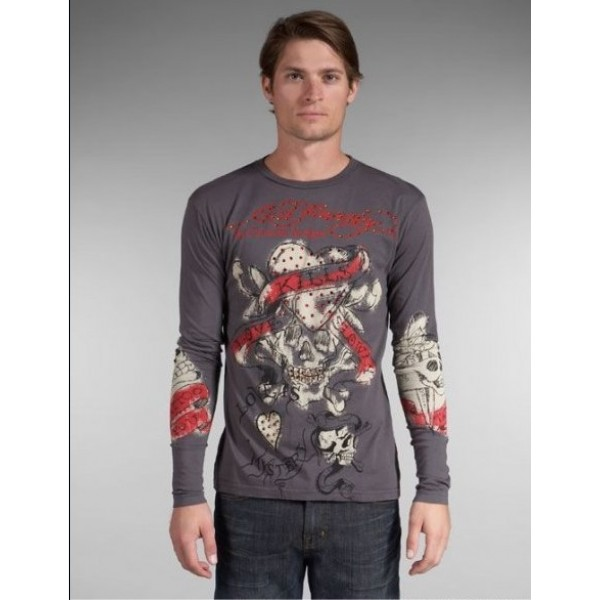 Grey Christian Long Sleeve Ed Hardy Men Skull