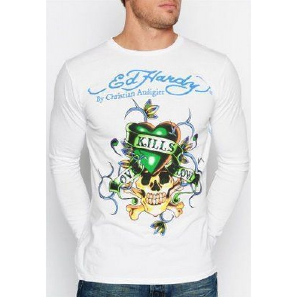 LKS Ed Hardy Shop Online Men Long Sleeve White