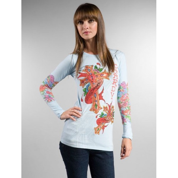 Ladies Ed Hardy Long T Shirt Clothing Blue Australia