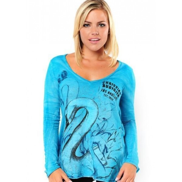 Long Sleeve Ed Hardy Christian Audigier For Women Blue