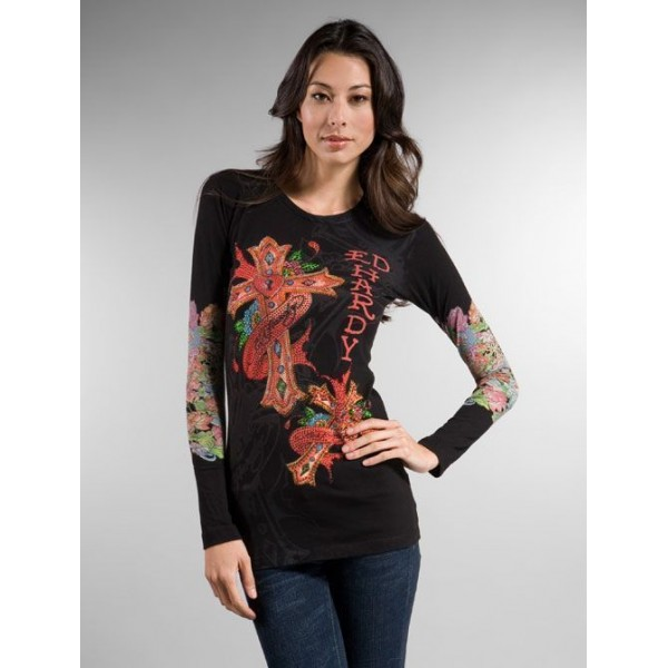 Long Sleeve Ed Hardy Clothing For Women Black