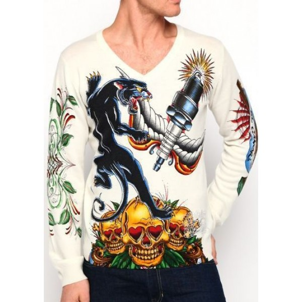 Men Ed Hardy Clothing UK Long Sleeve Leopard CA