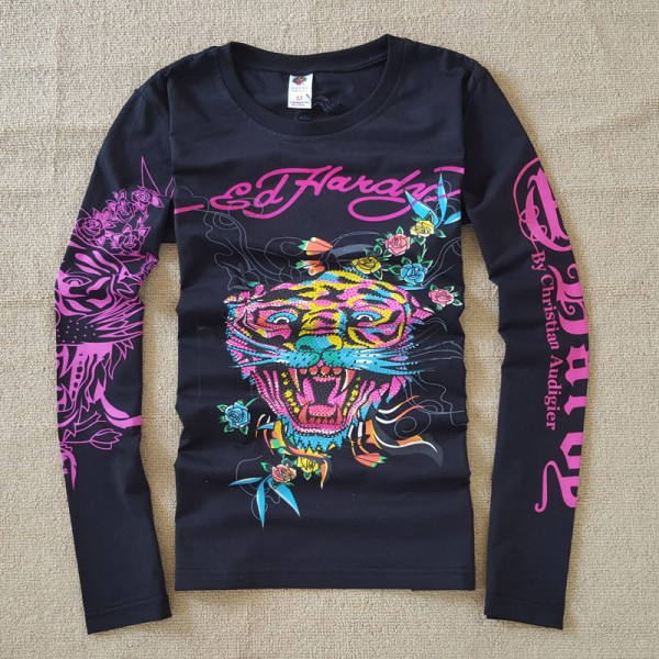 Mens ED Hardy Long Sleeve T Shirt Colorful Tiger Black
