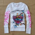 Mens ED Hardy Long Sleeve T Shirt Colorful Tiger White