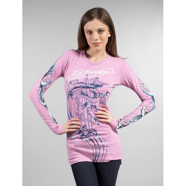 Purple Ed Hardy Style Shops Womens Long T Shirt