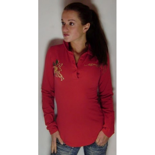 Red Long T Shirt Ed Hardy For Ladies Wholesale Clothing