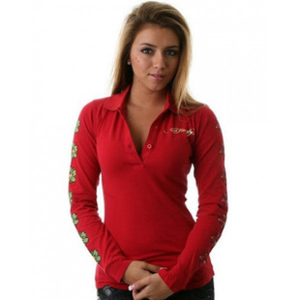 Red Womens Ed Hardy Long T Shirt Geisha UK Sale