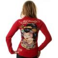 Red Womens Ed Hardy Long T Shirt Geisha UK Sale