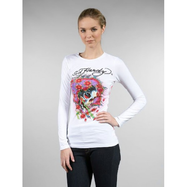 White Ed Hardy Long Sleeve For Ladies Online Shopping