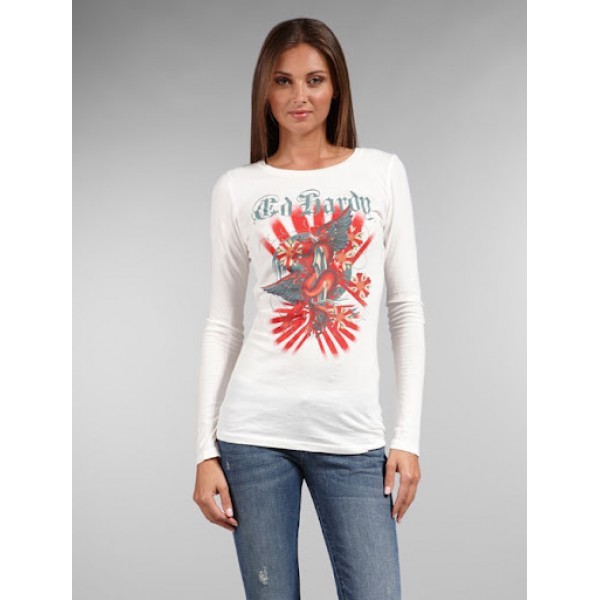 White Long T Shirt Ed Hardy For Women Sales CA