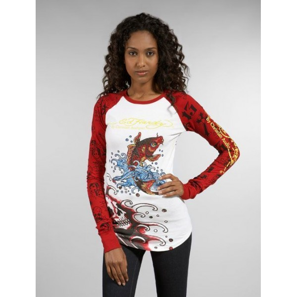 Wholesale White Womens Ed Hardy Stores Long T Shirt