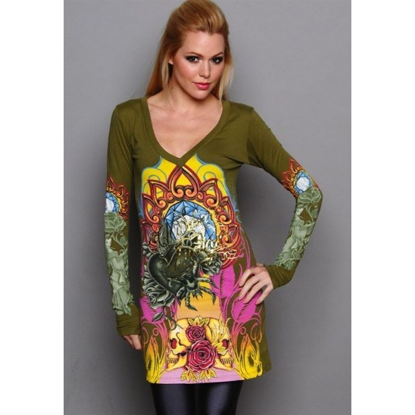 Womens Christian Audigier Ed Hardy Long Sleeve Army