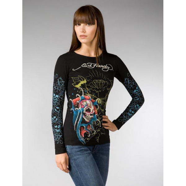 Womens Ed Hardy Long Sleeve Clothing UK Black