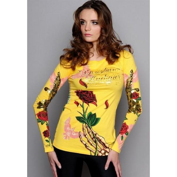 Yellow Long T Shirt Christian Audigier Ed Hardy For Women