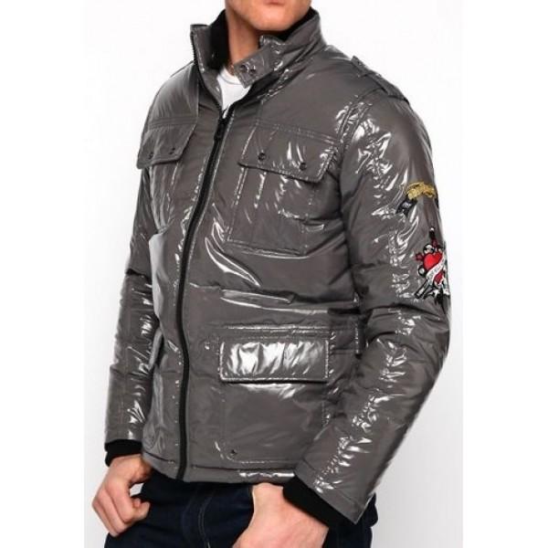 Ed Hardy Padded Outwear Mens UK Shop Light Grey