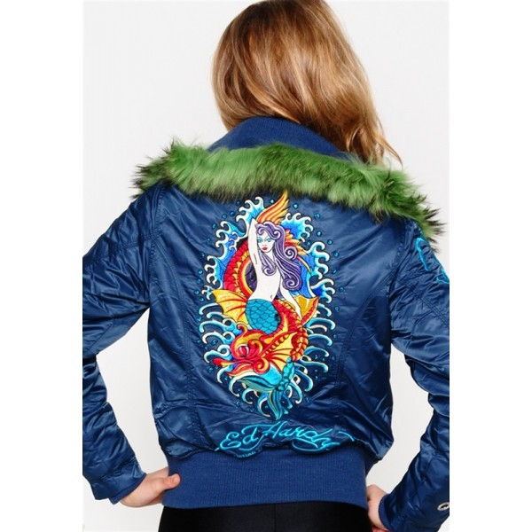 Ed Hardy Padded Outwear Mermaid Blue For Women