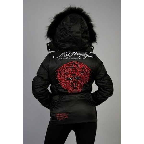 Ed Hardy Padded Outwear Tiger Black For Women