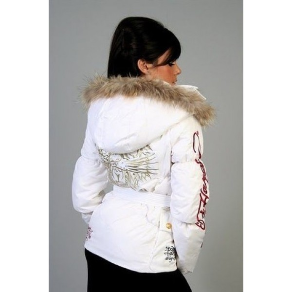 Ed Hardy Padded Outwear Tiger White For Women