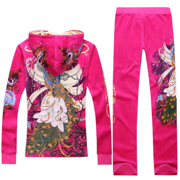 ED Hardy Long Suits Peacock Rose Red For Women