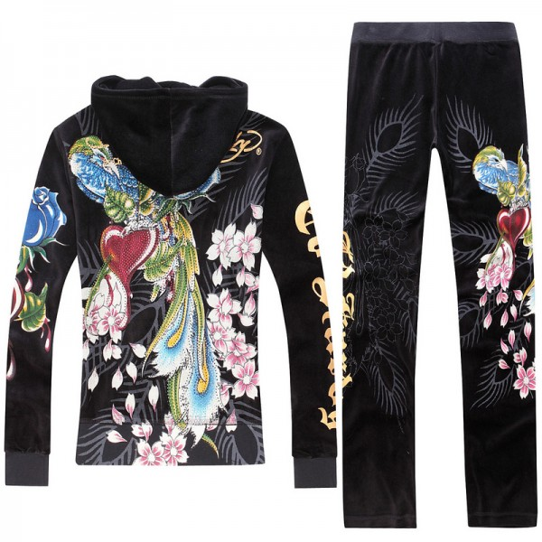 ED Hardy Long Suits Phoenix Roses Black For Women