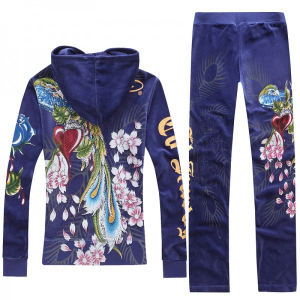 ED Hardy Long Suits Phoenix Roses Blue For Women