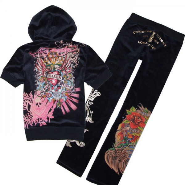 ED Hardy Short Suits Black Love Kill Slowly Pink For Women