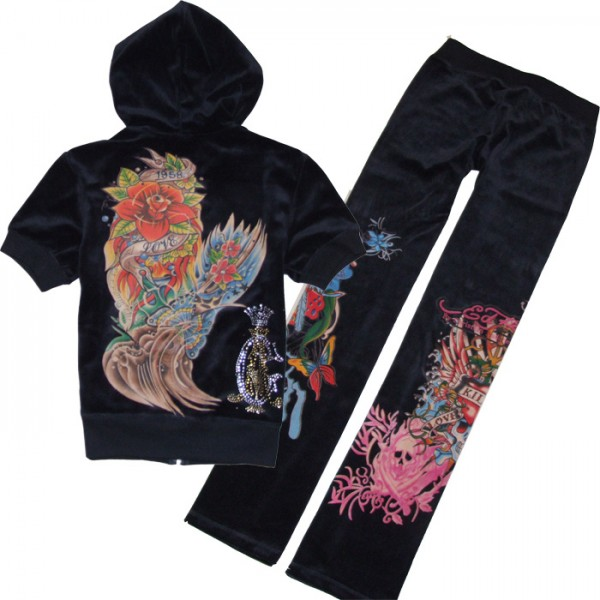 ED Hardy Short Suits Christian Audigier Black For Women