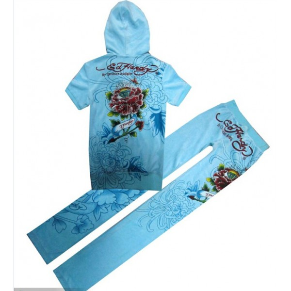 ED Hardy Short Suits Diamond Flowers Baby Blue For Women